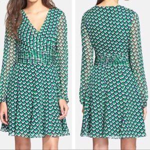 DVF Ashlynn pleated 100% silk dress
